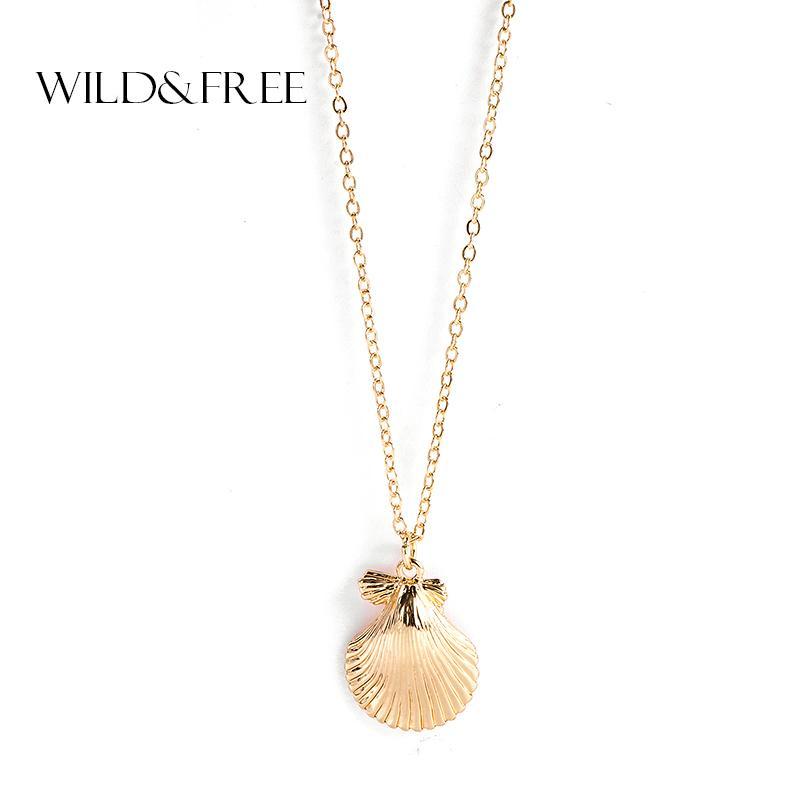 Gioielli WildFree Nuova estate figura Seashell Collana stile semplice in lega di zinco di colore dell'oro di Shell collana Ocean Beach Party