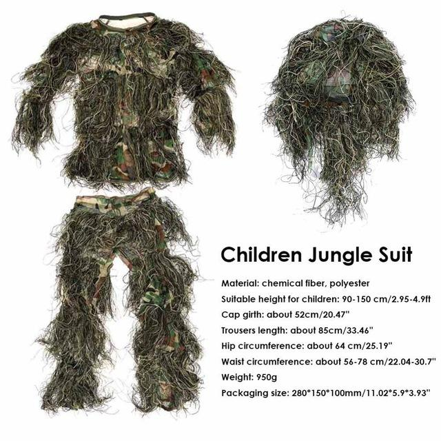 Hunting clothes New 3D Bionic Ghillie Suits Yowie sniper birdwatch Camouflage Clothing jacket and pants