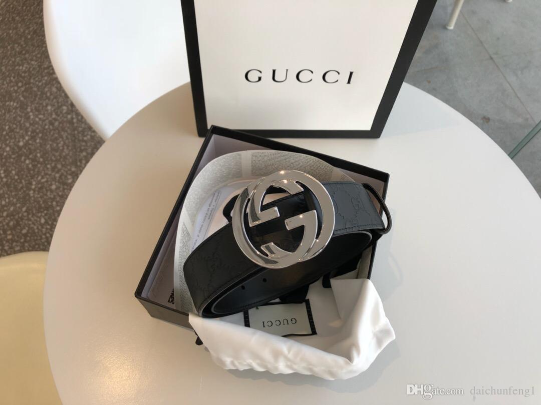 kutu kemerler kadın kemerleri ile altın gümüş toka tuval deri erkek kemer genişliği moda 4,0 cm 411.924 CWC1N 1000 Kargo Ücretsiz