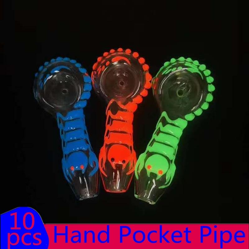 En verre Stock pipe Pocket main Night_luminous Phosphorescent Pipes sombres verre de tabac à fumer Pipes main 4 pouces tuyau en silicone tuyau cuillère