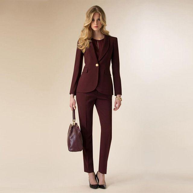 Womens Business Suit Weinrot Weiblichen Büro Uniform Damen Formale Hose 2 Stück Set Abend Prom Party Smoking
