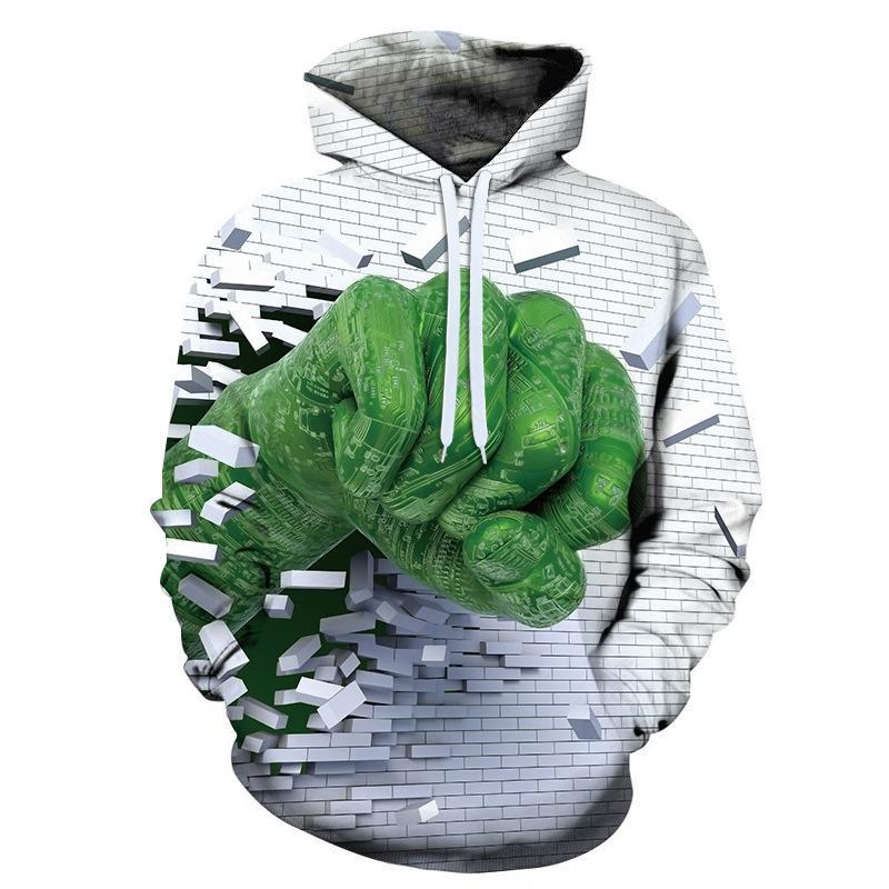 Primavera Autunno divertente Streetwear Uomini Stampa 3D divertente mattone verde Pugno con cappuccio Felpe con cappuccio Felpe