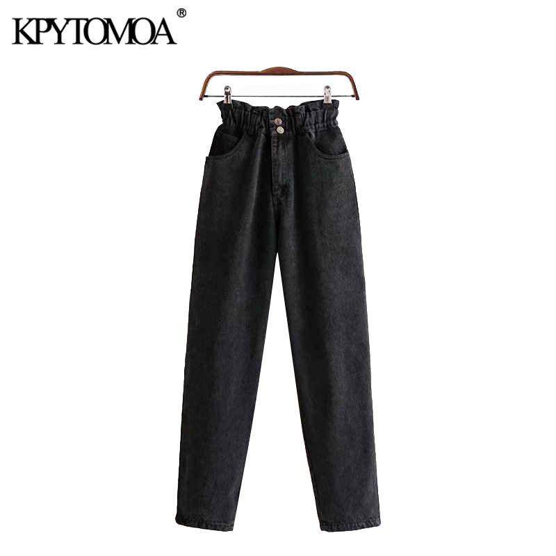 Vintage elegante Pockets cintura alta Denim Pants Mulheres Jeans 2020 Moda Zipper cintura elástica tornozelo Calças Calças