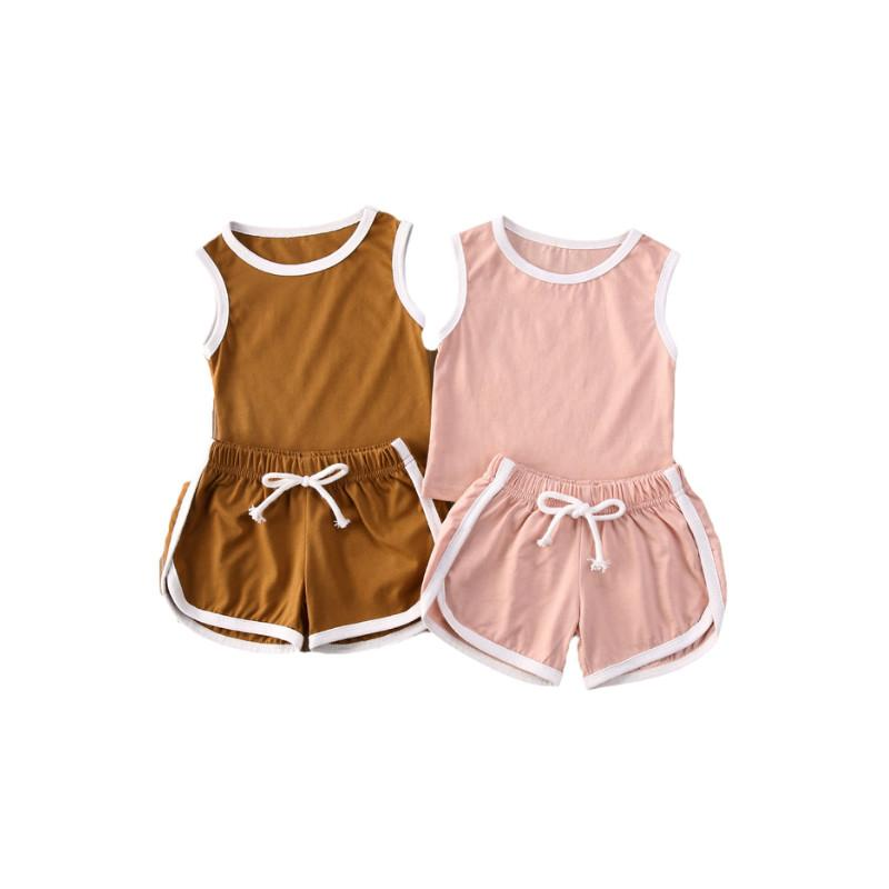 Summer Toddler Baby Girl Boy Shorts Set Solid Sleeveless Tank Top + Shorts Casual Clothes 1-5Y