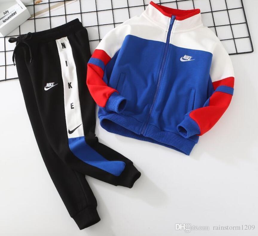 New Teens NIKE Manteau Set de haute qualité Marque Kids Sports Zip Jacket Set de sport haut pantalon qualité garçon et une fille coton enfants à capuche + Pantalons 2