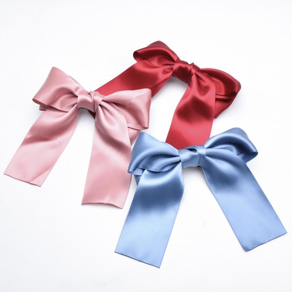 Women Girls Ribbon Satin Large Bow Hair Clip Spring Clamp Boutique Accessories