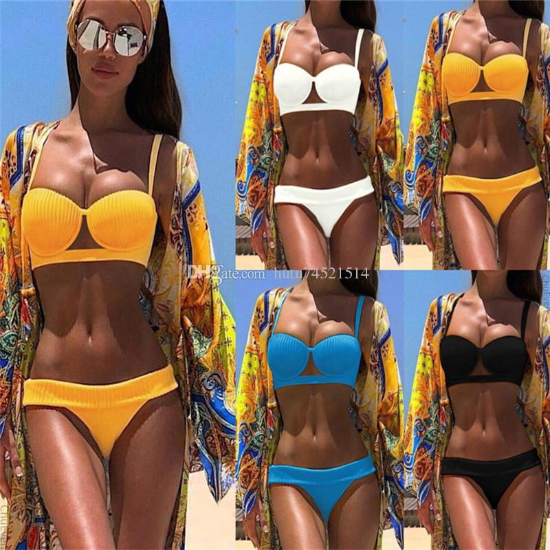 Costumi da bagno gialli a coste da donna Completo da due pezzi Push Up Sexy Bikini Micro Costume da bagno Scava Fuori Costume da bagno Summer Beach Wear 2019