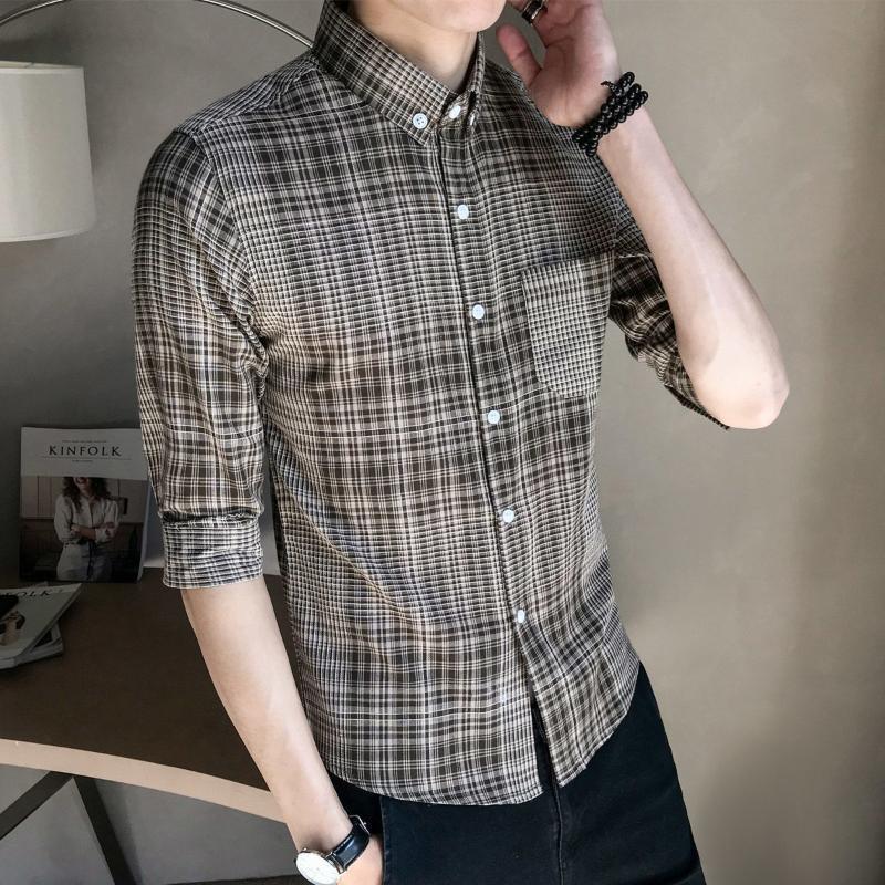 2020 Frühling New Plaid Hemd Männer langärmliges dünne koreanisches Business Casual Trend britischen gut aussehend 5xl heiße freies Verschiffen rot