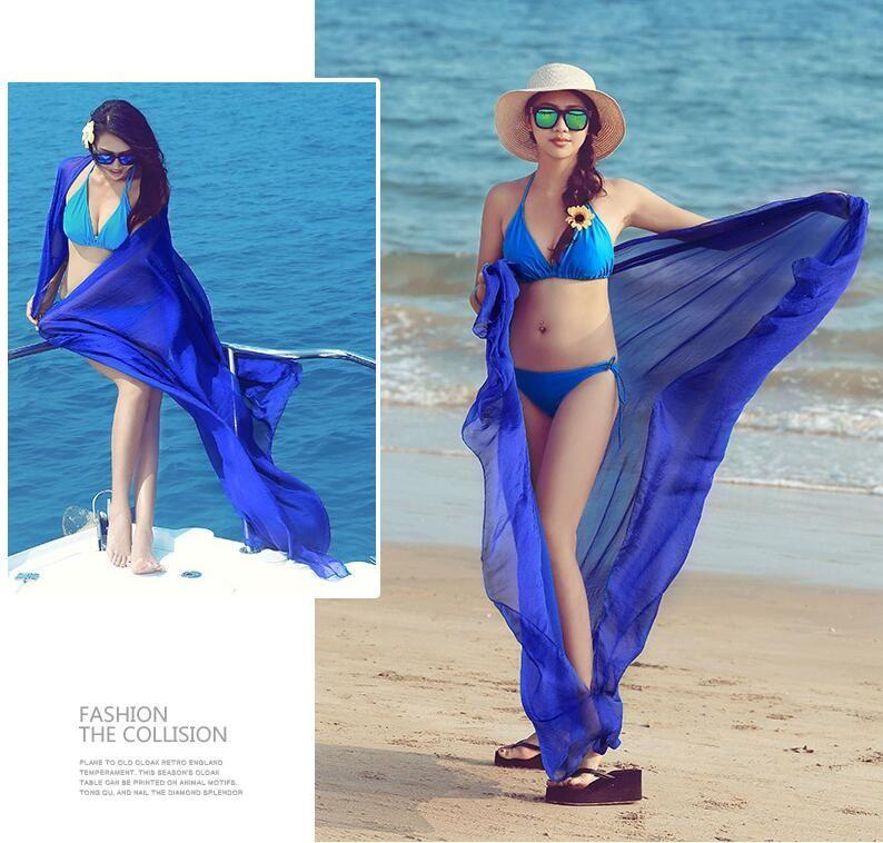 Femmes Wrap Dress Sarong Plage Bikini Maillot De Bain Cover Up Écharpe Paréo Écharpe Plage Maillots De Bain Robe Écharpe 120 * 150cm LJJK1338