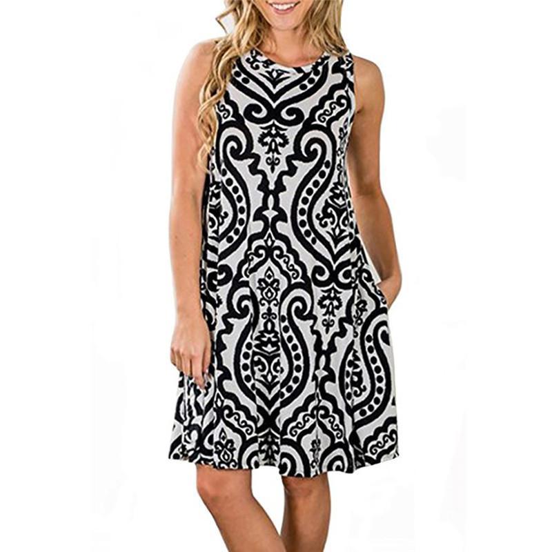 El tamaño grande 3XL las mujeres se visten de época algodón suelta Camisa de vestir casual Streetwear verano Imprimir O-cuello sin mangas larga del vestido Vestidos