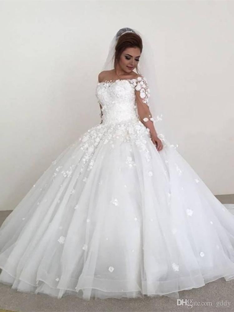on feet images of size 7 the latest Discount Flowy Chiffon Modest Wedding Dresses 2019 Beach Short Sleeves  Beaded Belt Temple Bridal Gowns Queen Anne Neck Informal Reception Dress  Plus ...