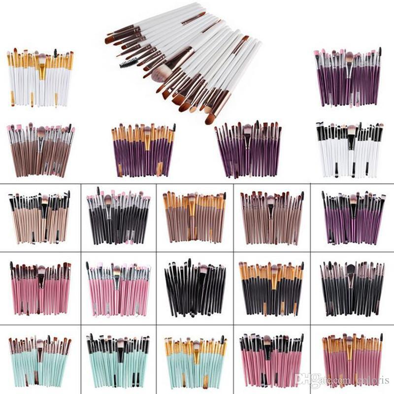 20 Piezas Juego de cepillos Colección de pinceles de maquillaje profesional Cara Ojos Labios Cepillos cosméticos Multi-color Opcional