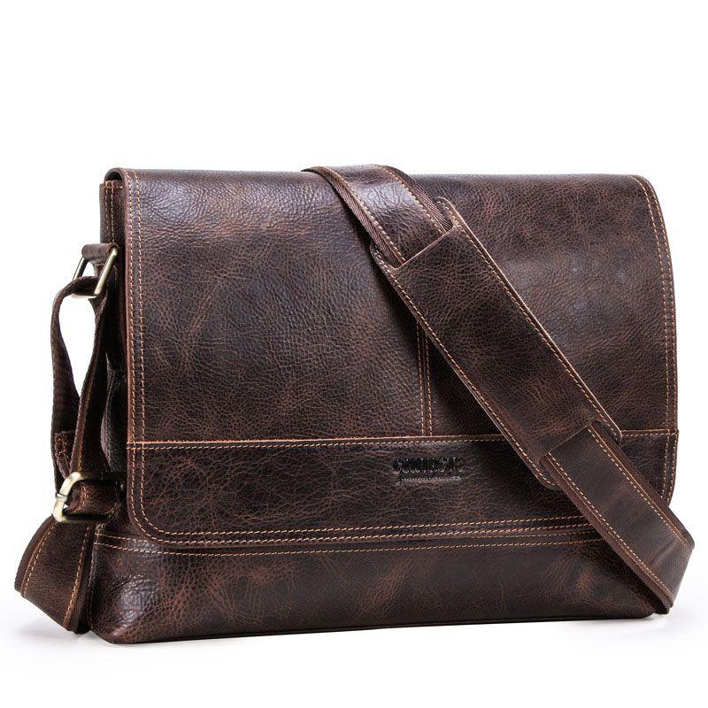 100 % 진짜 소 정품 가죽 남자 어깨 가방 크로스 바디 메신저 가방 2 주요 포켓 새로운 패션 부드러운 남성 가방 MB091