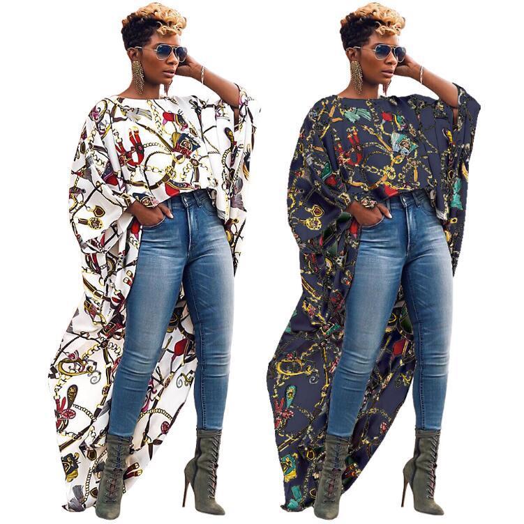 nuevas mujeres de impresión cadena de la vendimia vestido de cóctel o-cuello de manga larga irregulares altos longitud del piso de la blusa de la camisa vestidos bajas vendido