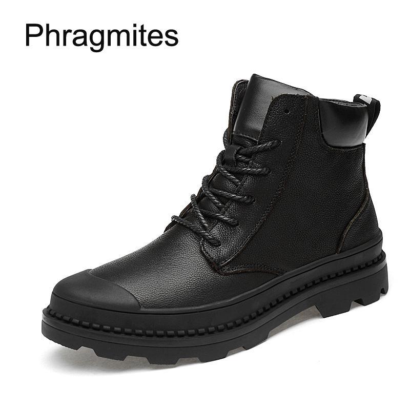Phragmites tamaño 37-47 botas cortas del ejército de invierno cálido botines mujer 2018 protegen los pies del trabajo botas de seguridad botas de moda botas negras frescas