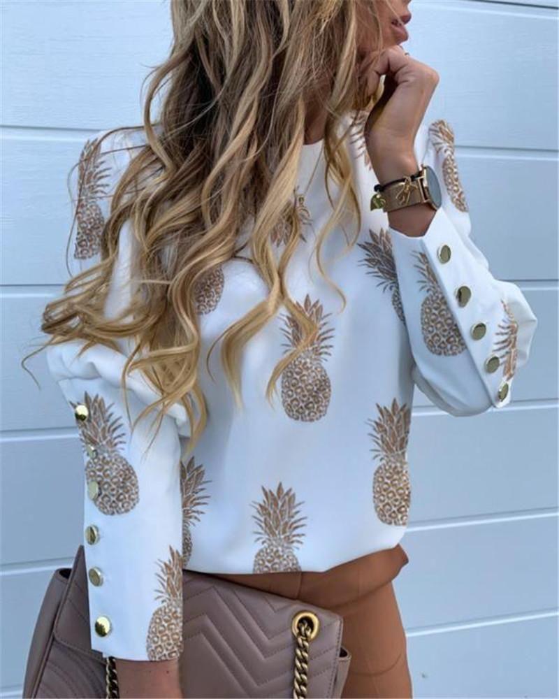 Womens Designer Digital Printed Shirts OL Female Crew Neck Blouses Autumn Casual Female Slim Clothing