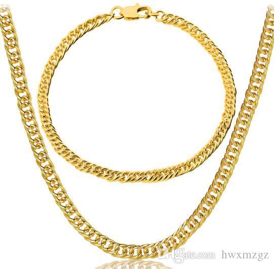Conjunto de brazalete con collar lateral chapado en oro 3.5MM18K de los hombres populares