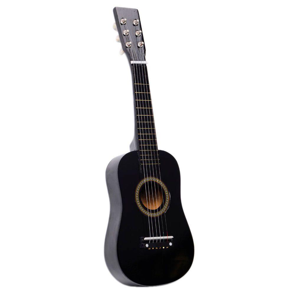 Iniciantes de 23 polegadas praticam guitarra preta acústica com pick 6 string crianças crianças navio de EUA