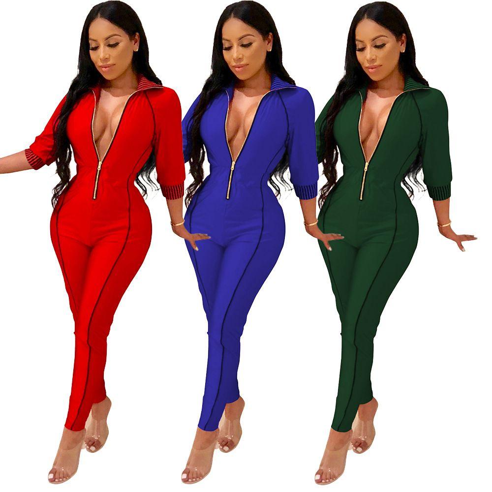 Yeni tasarım sonbahar ve kış ince seksi V yaka tulum moda yedi noktalı kol katı rengin tulum tulum