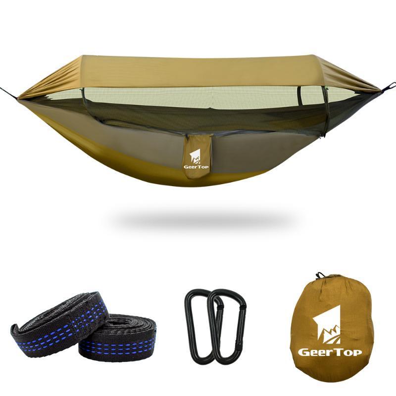 GeerTop Upgraded Hammock 3 in 1 Hammocks with Sun Shelter Tarp Waterproof Durable Nylon with Anti-Mosquito Net Home Garden Play