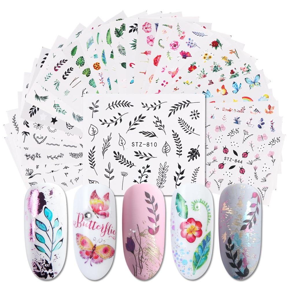 29pcs Flowers Butterfly Slider Nail Art Leaf Summer Nail Sticker Set Flamingo Watermark Flake Decal Tips Decoration Tools LA764