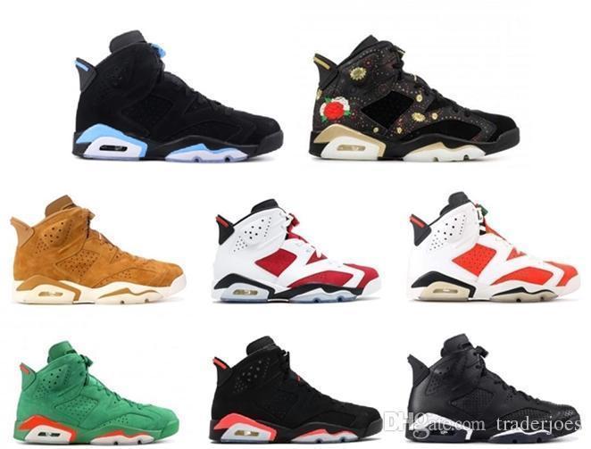 Kutu ile Mens ve Womens Basketbol Ayakkabıları 6 S Siyah Kedi Alternatif Gatorade Yeşil Üniversitesi Erkekler için Mavi Carmine Marka Tasarımcısı Sneakers