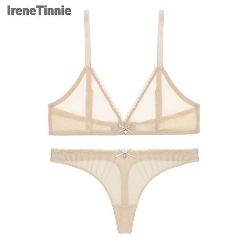 Irene Tinnie Sexy Lingerie Bra Set Biancheria Intima Delle Donne Reggiseno Push Up maglia Lingerie Erotica Ultra-Sottile Dell'annata Del Merletto Set