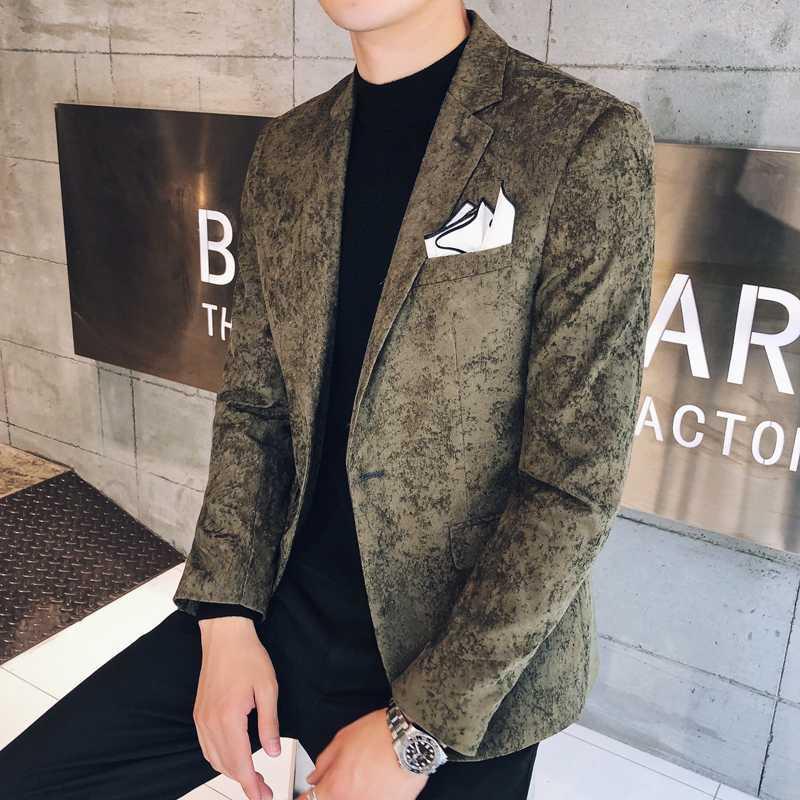 Men's Suits & Blazers Corduroy Blazer Men 2021 Autumn Business Casual Masculino Slim Fit Single Button Mens Vintage 3xl