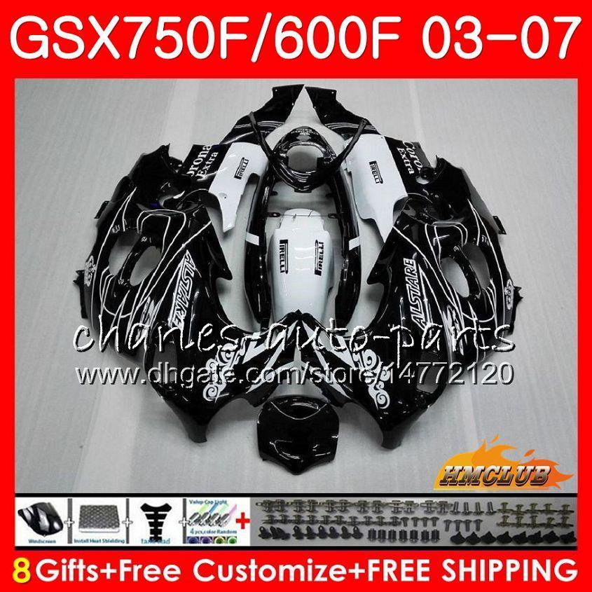 Vücut İçin SUZUKI KATANA GSXF750 GSXF600 Siyah satışı 2003 2004 2005 2006 2007 3HC.17 GSX600F GSX750F GSXF 600 750 03 04 05 06 07 Fairing kiti