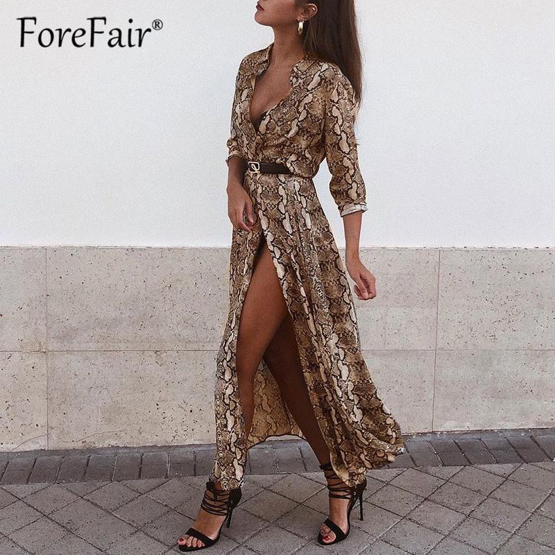 Großhandel Shirt Kleid Snake Print Vintage Frauen Kleidung 2019 Casual Elegante Tasten Langarm Sommer Schlangenleder Kleid Vestidos
