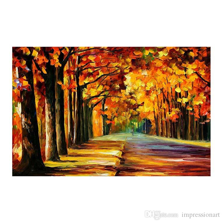 """24""""x20"""" Forest path 100% hand-painted canvas oil painting living room sofa background wall decoration painting European painting"""