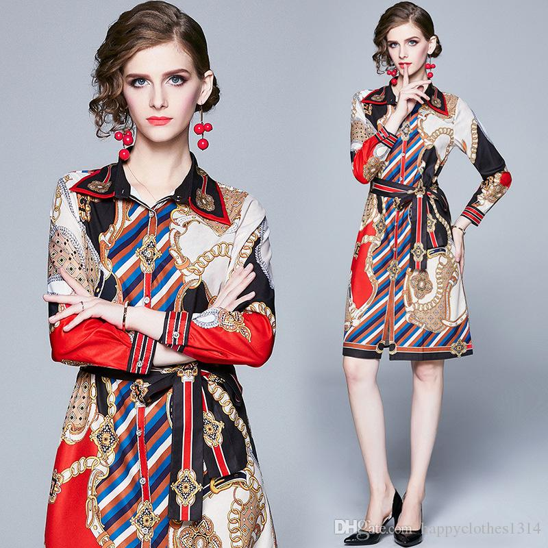 2020 Luxusmode-Knopf-Hemd-Kleid Frauen Runway Langarm Revers Ausschnitt Bow Partei-Abschlussball-Blumendruck-Damen Designer-Kleid Büro-Kleider