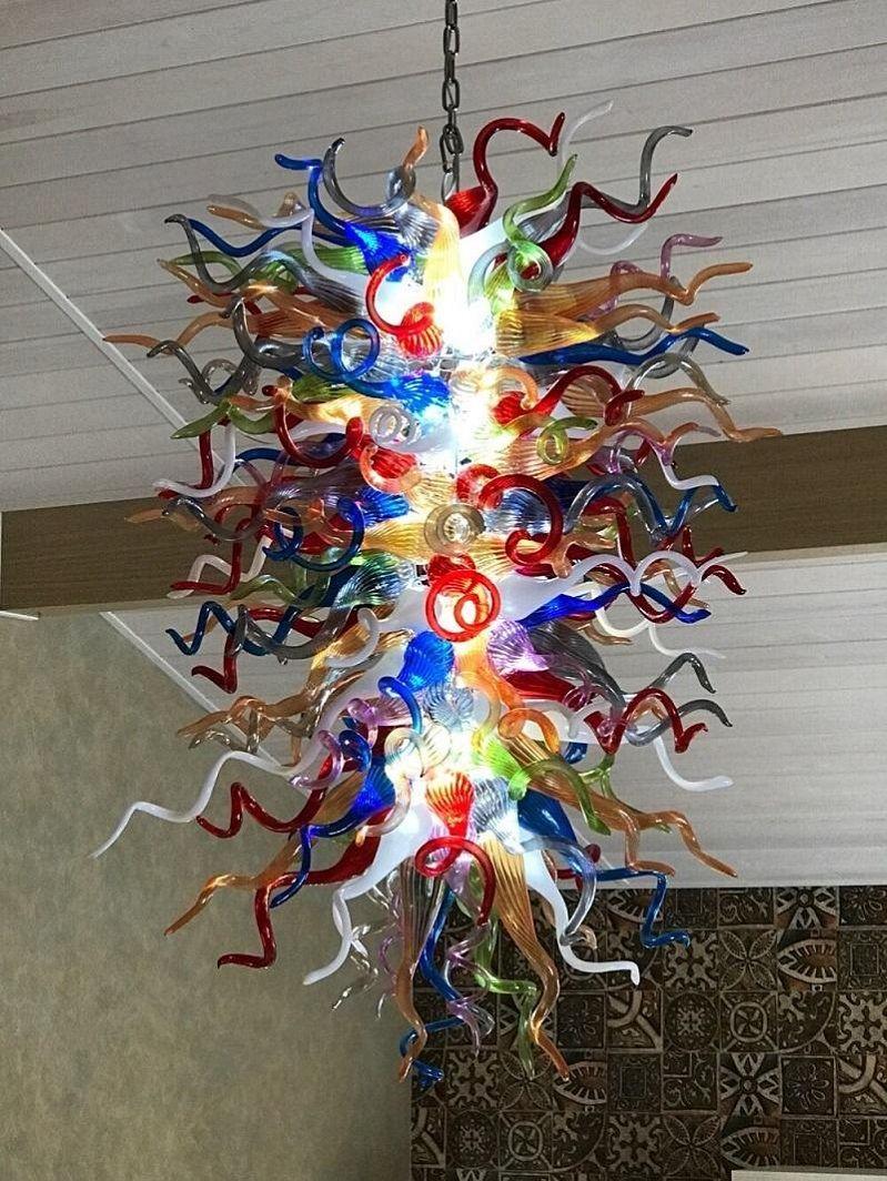 Art Deco висячие Стеклянный шар Свет Гостиная Рука выдувное стекло люстры освещения разработан уникальный Murano выдувного стекла люстры