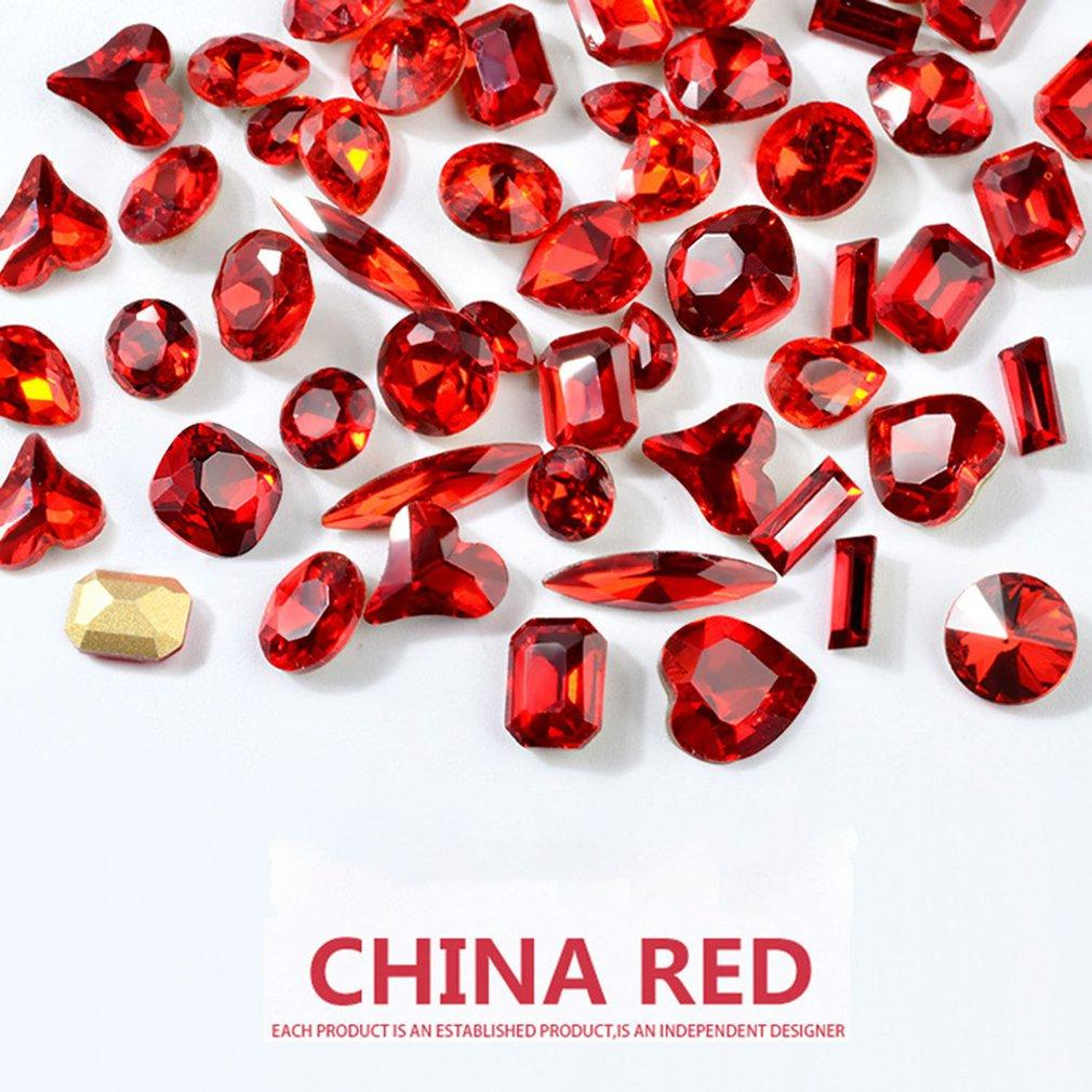 Новый год Китайский Красный Совет Bottom Nail Glass Drill Блестящая Алмазная Big Red Nail Украшение Инструменты украшения аксессуары