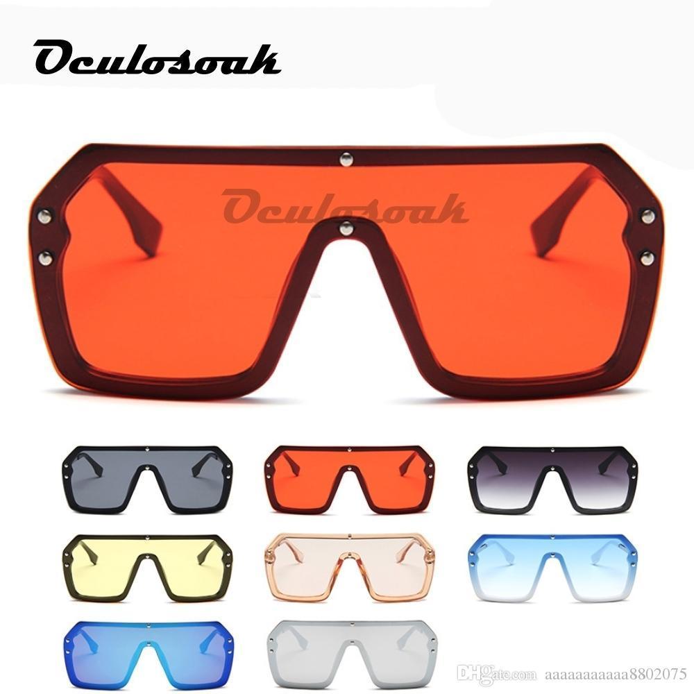 Red Black Oversized Square Sunglasses Men New 2019 One Piece Lens Big Frame Sun Glasses For Women Uv400 Silver Mirror