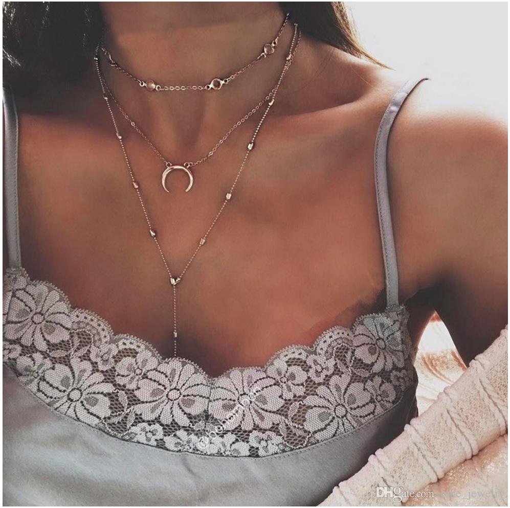 Three layers Moon Pendant Silver and gold plated with Acrylic Disc bead Metal Chain For Women Necklace