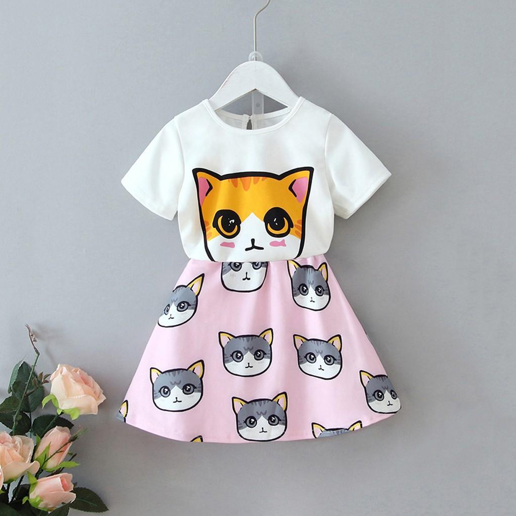 Çocuklar Kız Bebek Sevimli Kedi Baskı Kısa Kollu Tişört + Etek Seti çocuklar elbise kız vetment enfant fille Elbiseler