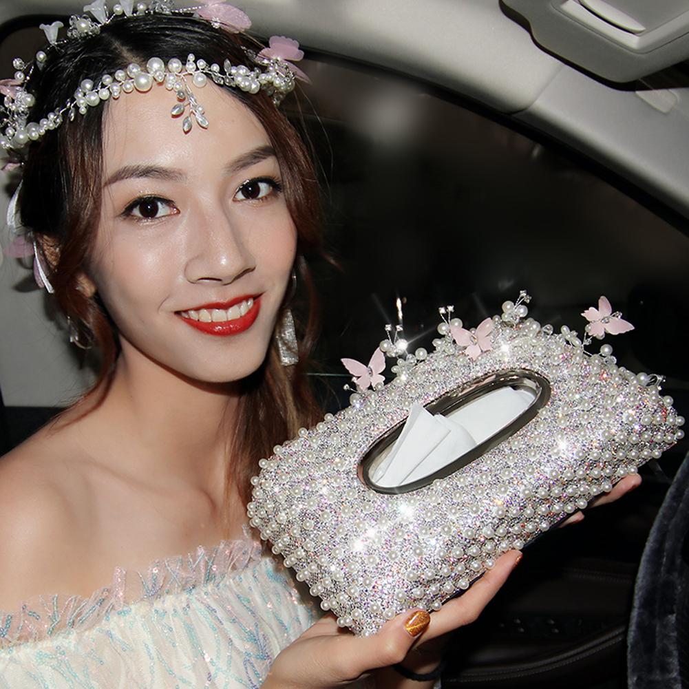 Lady Fashion Perle de diamant de Bling strass voiture Boîte de tissu Case Cover