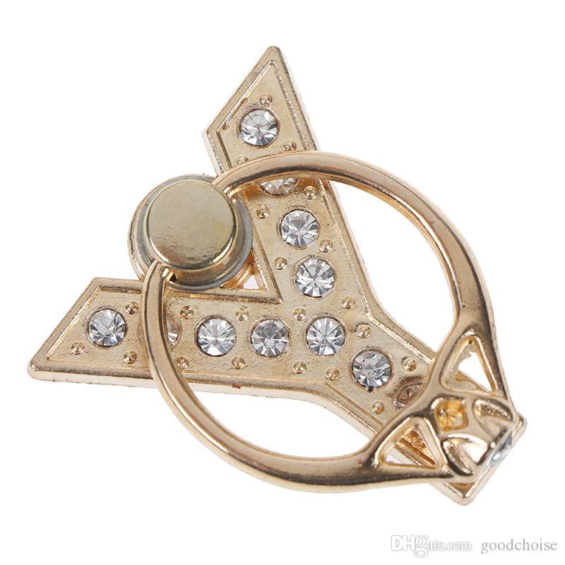 360 Degree dedo anelar Smartphone Stand Holder Metal Diamond A-Z Letter Móvel Suporte Phone Holder para o iPhone Tudo Telefone