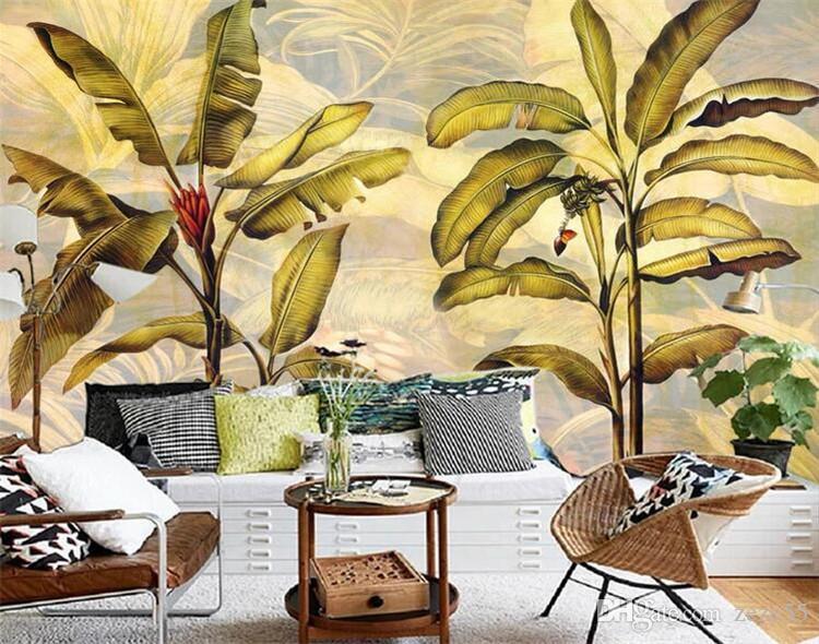 parede de fundo CustomSoutheast Ásia tropical de coco do vintage pintura decorativa resumo mural fundo wallpaper