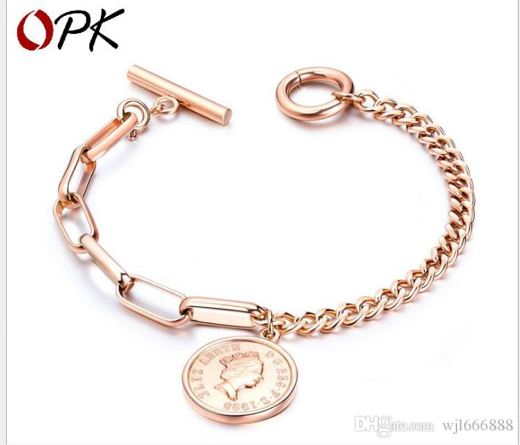 Fashion Rose Gold Jewelry Retro Ancient Figure Round Titanium Steel Bracelet OT Button Hand Jewelry