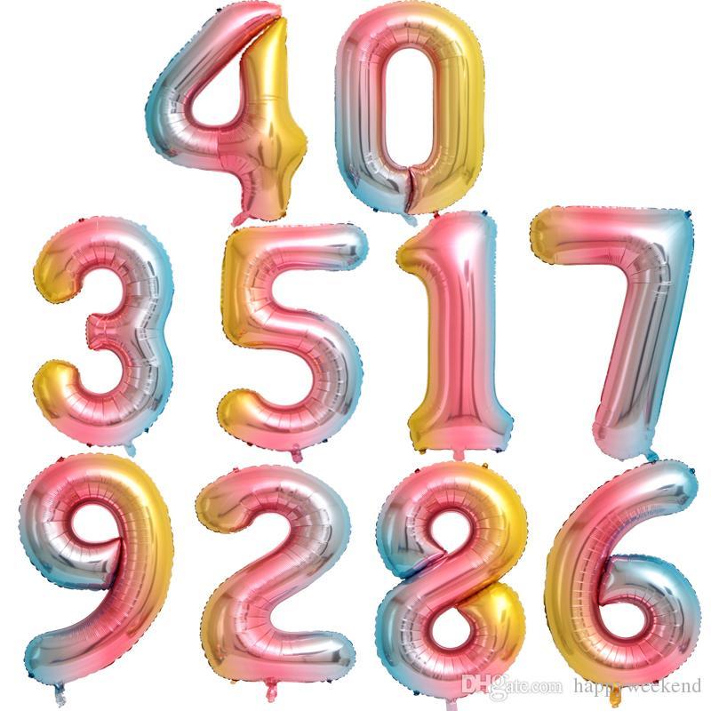 Nouveaux arc de couleur Nombre Foil Ballons 40 pouces de fête d'anniversaire de mariage Décoration numérique Ballon Ballon Nombre Air Globos avec une haute qualité
