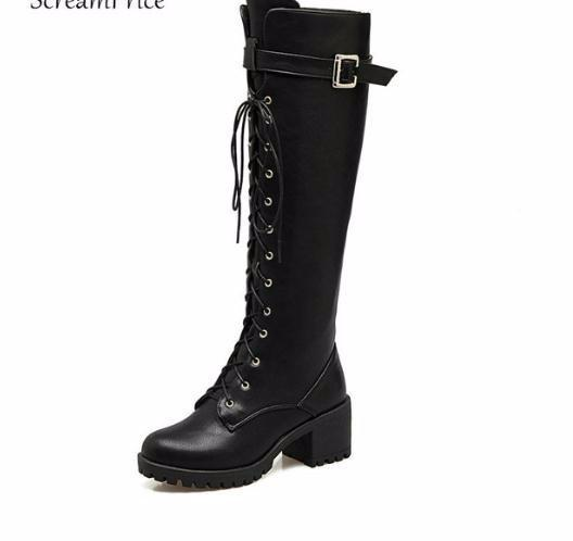 Women Buckle Lace Up Comfortable Platform Square Heel Knee High Boots Fashion Round Toe Winter Shoes Black Brown Gray Green