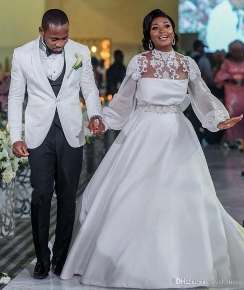 Col haut manches longues robes de mariée robes de soirée africaine satin une ligne dentelle robes de mariée