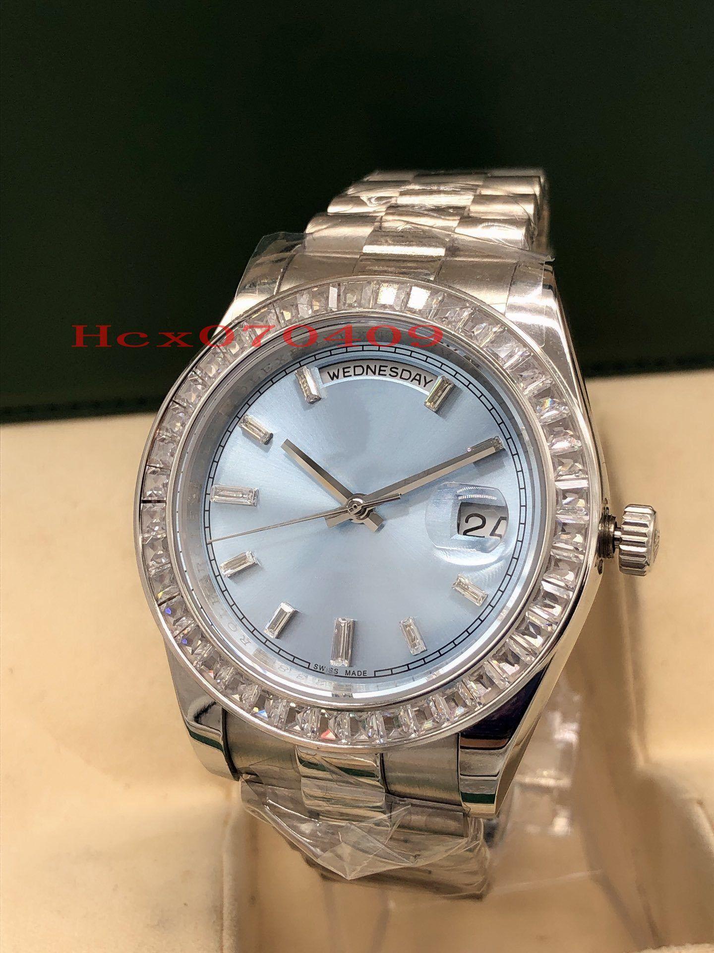 Reloj para hombre de lujo 41mm Concha de Plata el nuevo cuadrado del diamante del bisel DayDate Light Blue Diamond Dial Índice de Asia Movimiento automático mecánico Watche