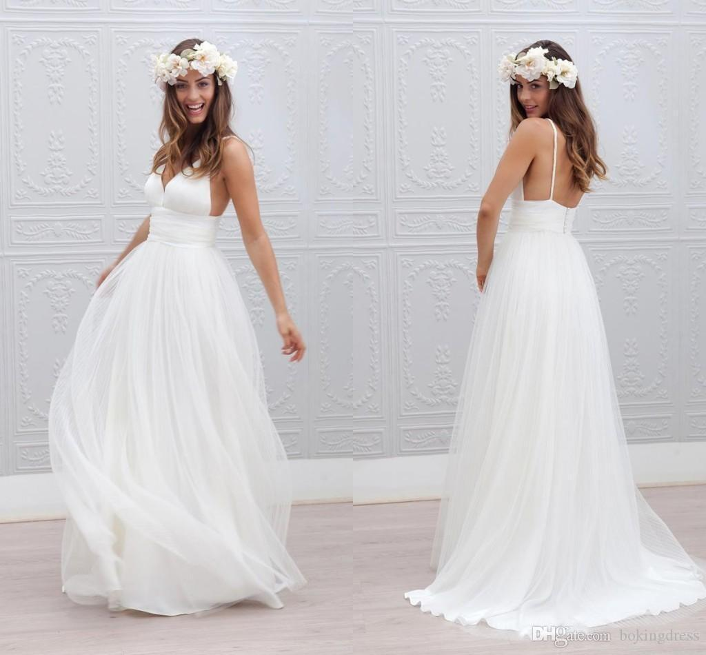 Bohemian Beach Wedding Dresses Spaghetti Straps Pure White Ruched Tulle 2020 Wedding Dresses Simple Style Fairy Bridal Gowns Custom Made