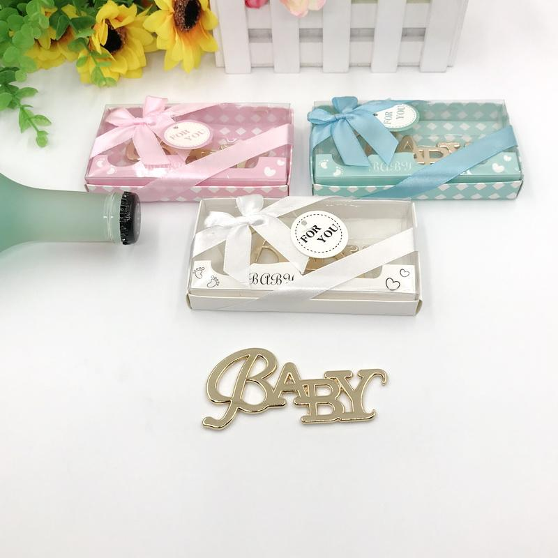 50PCS Baby Design Gold Bottle Opener in Gift Box Newborn Baptism Gift Birthday Party Giveaways For Guest FREE SHIPPING