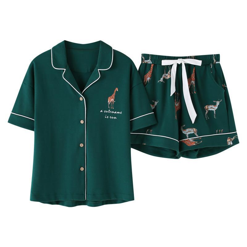Лето Сыпучие Pajama наборы Женщины мультфильм Жираф Распечатайте 2 шт шорты эластичный пояс пижамы женщин Pijamas S93224 CX200703