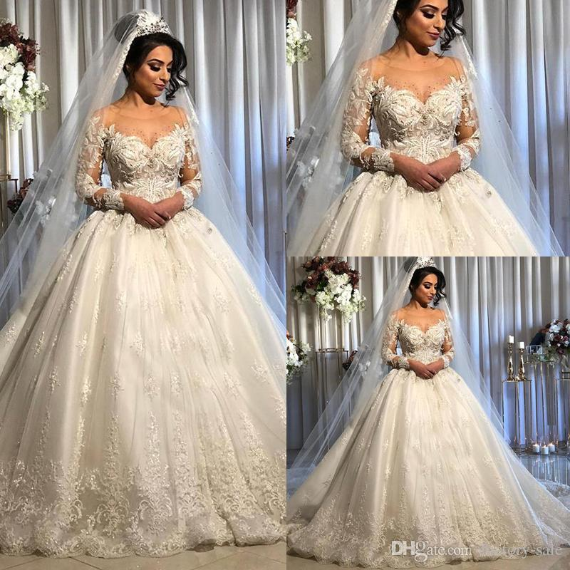2020 Vintage Arabic Dubai Style Long Sleeve Ball Gown Wedding Dresses Sheer Neck Lace Beaded Bridal Wedding Gowns Bc2843 Wedding Dresses White A Wedding Dress From Factory Sale 172 85 Dhgate Com