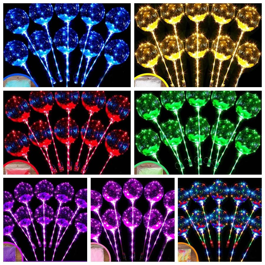 LED piscando balão transparente iluminação luminosa bobo balões balões com pena 3m cordas balão de natal casamento decoração GGA2191